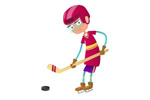 Cute teenage boy hockey player with hockey stick and puck