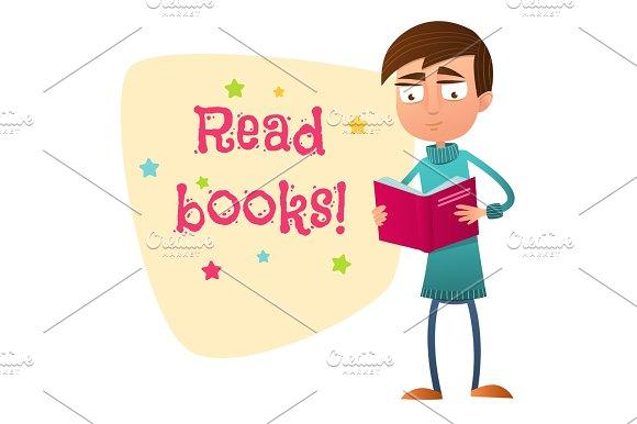 Read Books Teen Boy Holding An Open Book Paper