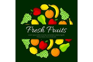 Fresh fruits round vector organic fruit poster