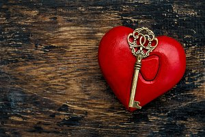 Red Heart Golden Key