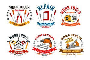 Repair work tools vector icons set