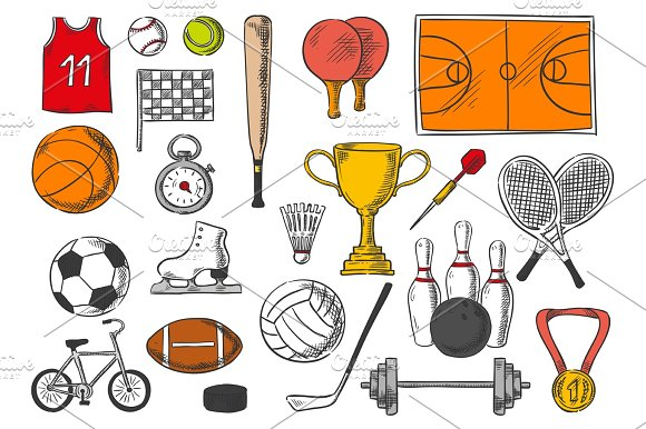 Sport Items Balls Isolated Sketch Vector Icons