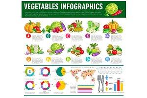 Vegetables healthy food vector infographics