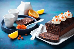 Chocolate loaf cake with orange candied fruits