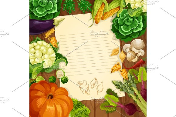 Vegetables Vector Recipe Or Message Note Blank