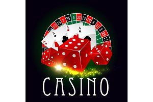 Casino wheel of fortune, poker cards vector poster