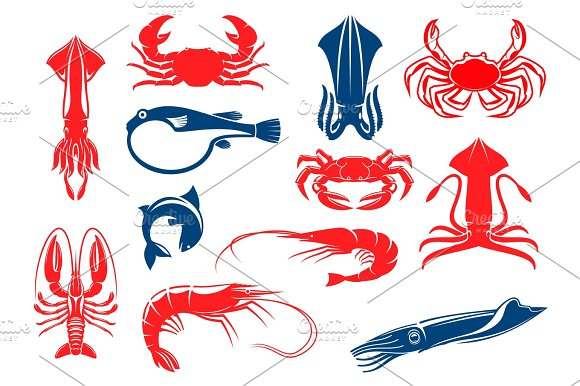 Seafood And Fish Food Vector Isolated Icons