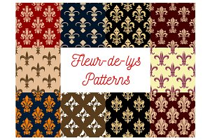 Royal flower fleur-de-lis ornament patterns set