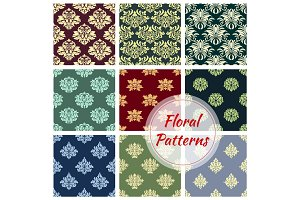 Floral pattern set, flowery Damask vector ornament