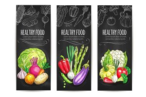 Healthy vegetable food sketch banners set