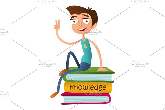 Funny Teenage Boy Sitting On A Pile Of Books And Showing Two Fingers A Sign Of Victory