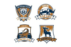 Hunting club vector icons, safari hunt emblems