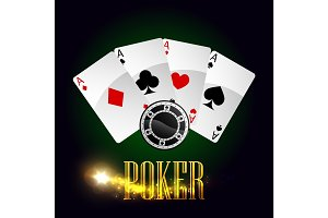 Casino poker cards vector poster