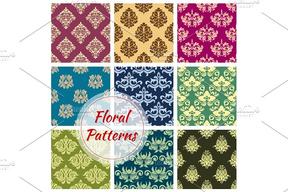 Floral Damask Ornament Vector Seamless Patterns