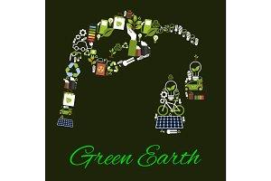 Green Earth environmental bio fuel vector poster