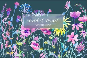 Watercolor Clipart Field of Pastel