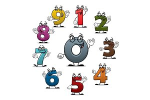 Cartoon count numbers characters vector icons
