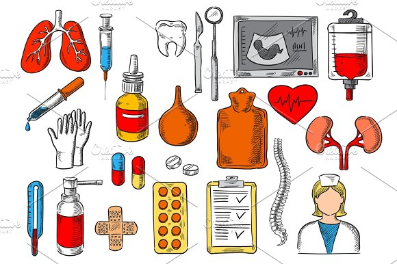 Medical Items And Medicines Vector Sketch Icons