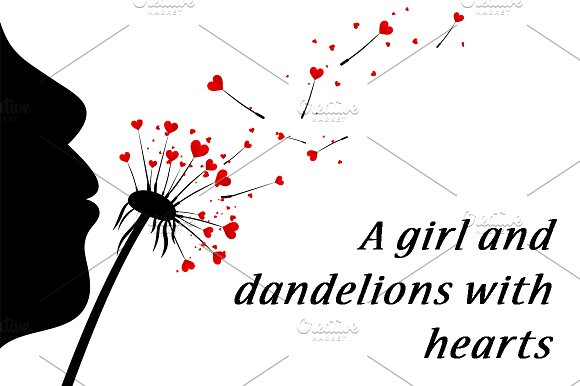 Girl And Dandelions With Hearts