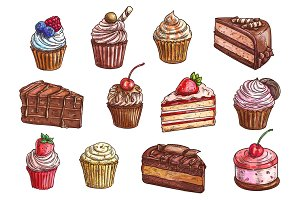 Desserts and sweet cakes sketch vector icons