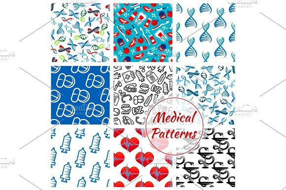 Medications Medical Vector Seamless Patterns Set