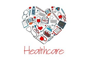 Healthcare medical heart vector poster