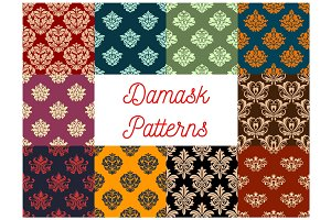 Damask floral vector pattern set, flowery ornament
