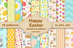 Easter seamless patterns collection