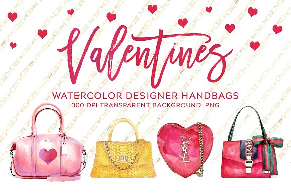 Valentine's Watercolor Purses
