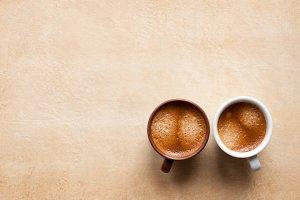 Two coffee espresso in cups