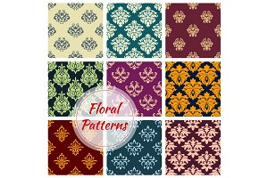 Floral ornate motif seamless patterns set