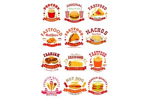 Fast Food vector isolated icons, emblems, ribbons