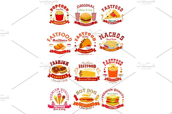 Fast Food Vector Isolated Icons Emblems Ribbons