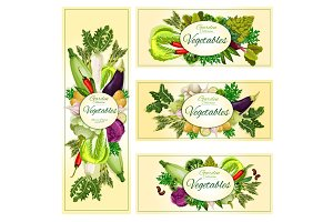 Vegetables organic vegetarian food banners