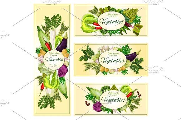 Vegetables Organic Vegetarian Food Banners