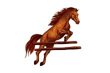 Horse jumping symbol for equine sport horserace