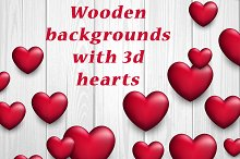Wooden backgrounds with 3d hearts