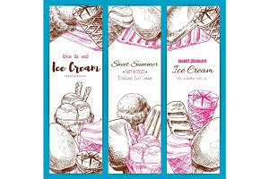 Ice cream sketch vector banners set
