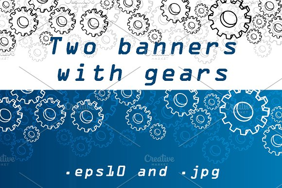 Color Banners With 3D Gears
