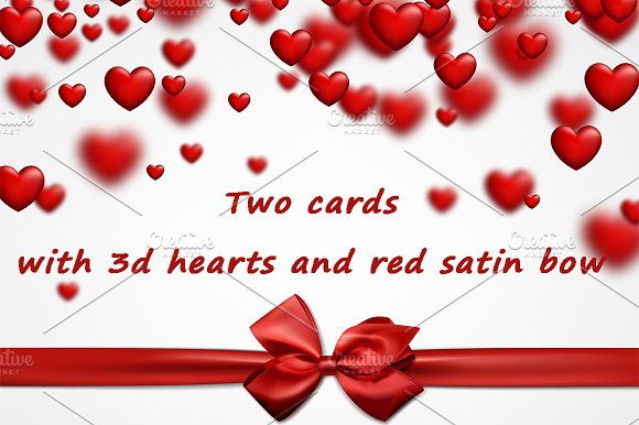 Two Cards With 3D Hearts And Red Bow