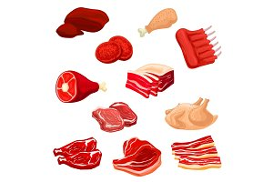 Fresh meat icons of beef, pork, poultry, mutton