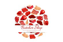 Butchery shop fresh meat vector poster
