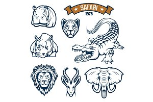 Safari hunting club animals vector icons set