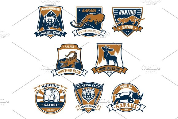 Hunting Sport Club Vector Icons Emblems Set