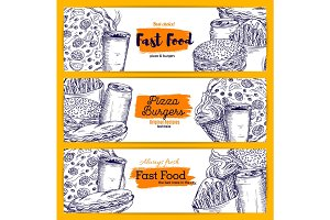 Fast food snacks and drinks sketch banners set