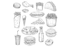 Fast Food snacks and drinks sketch vector icons