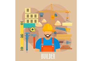 Builder worker with building work tools poster