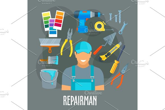 Repairman Worker With Work Tools Vector Poster