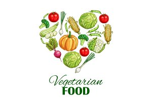 Vegetarian food heart poster of sketch vegetables