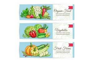 Organic vegetables vegetarian banners set